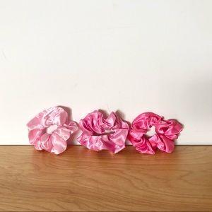 Pink Monochrome Satin Scrunchie 3 Pack